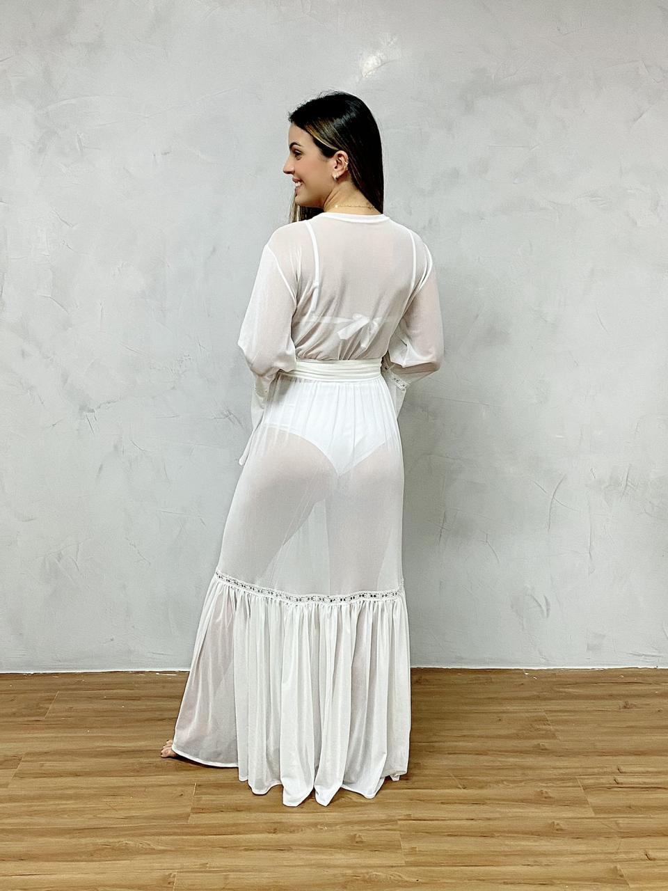 Vestido Longo Manga Grippy Flare Branco   - RMCE BRAZIL