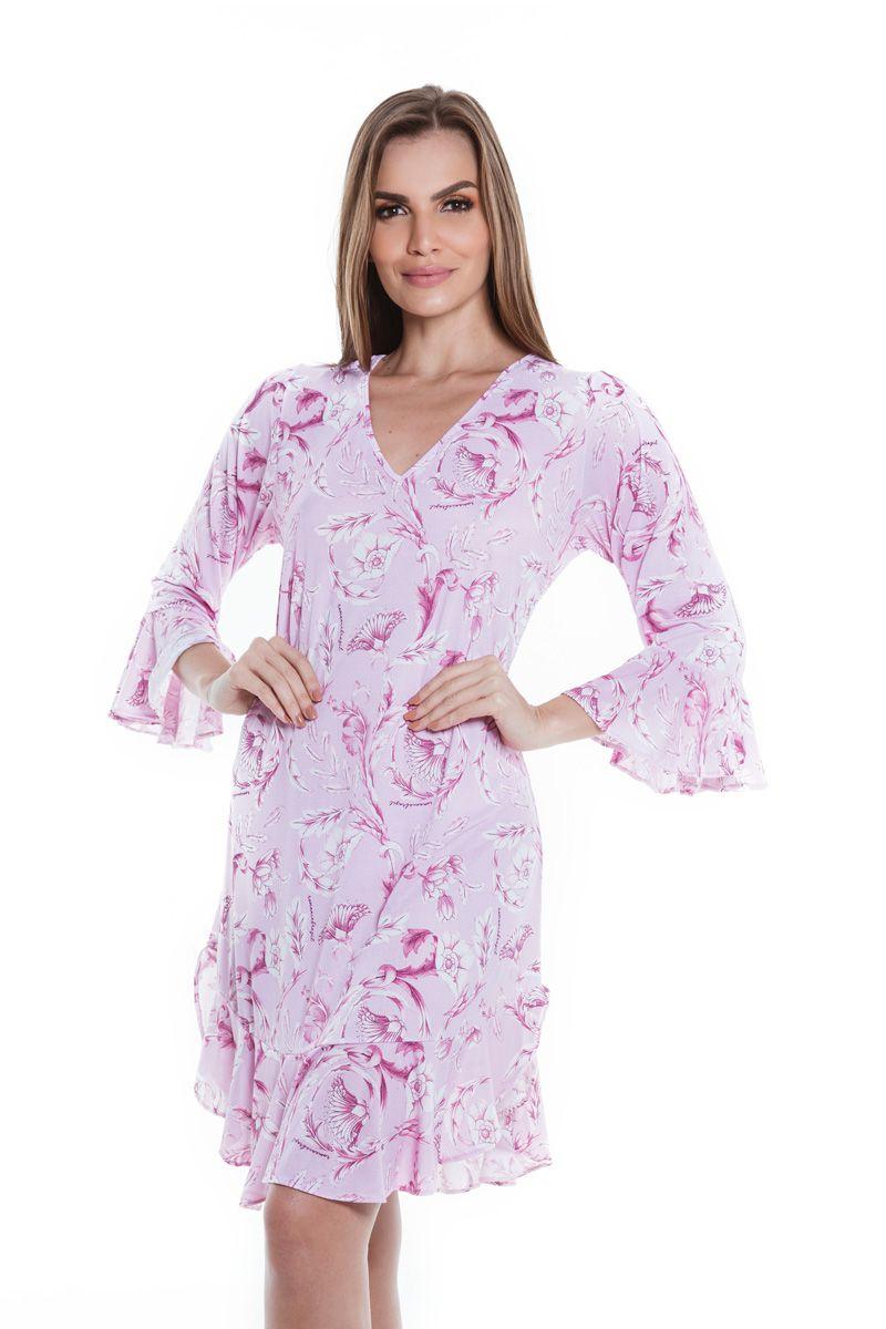 Vestido Manga Barra Babados Arabesco Rosé