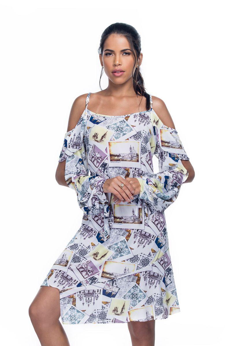 Vestido Manga Longa Alça Babados Postais Déco  - RMCE BRAZIL