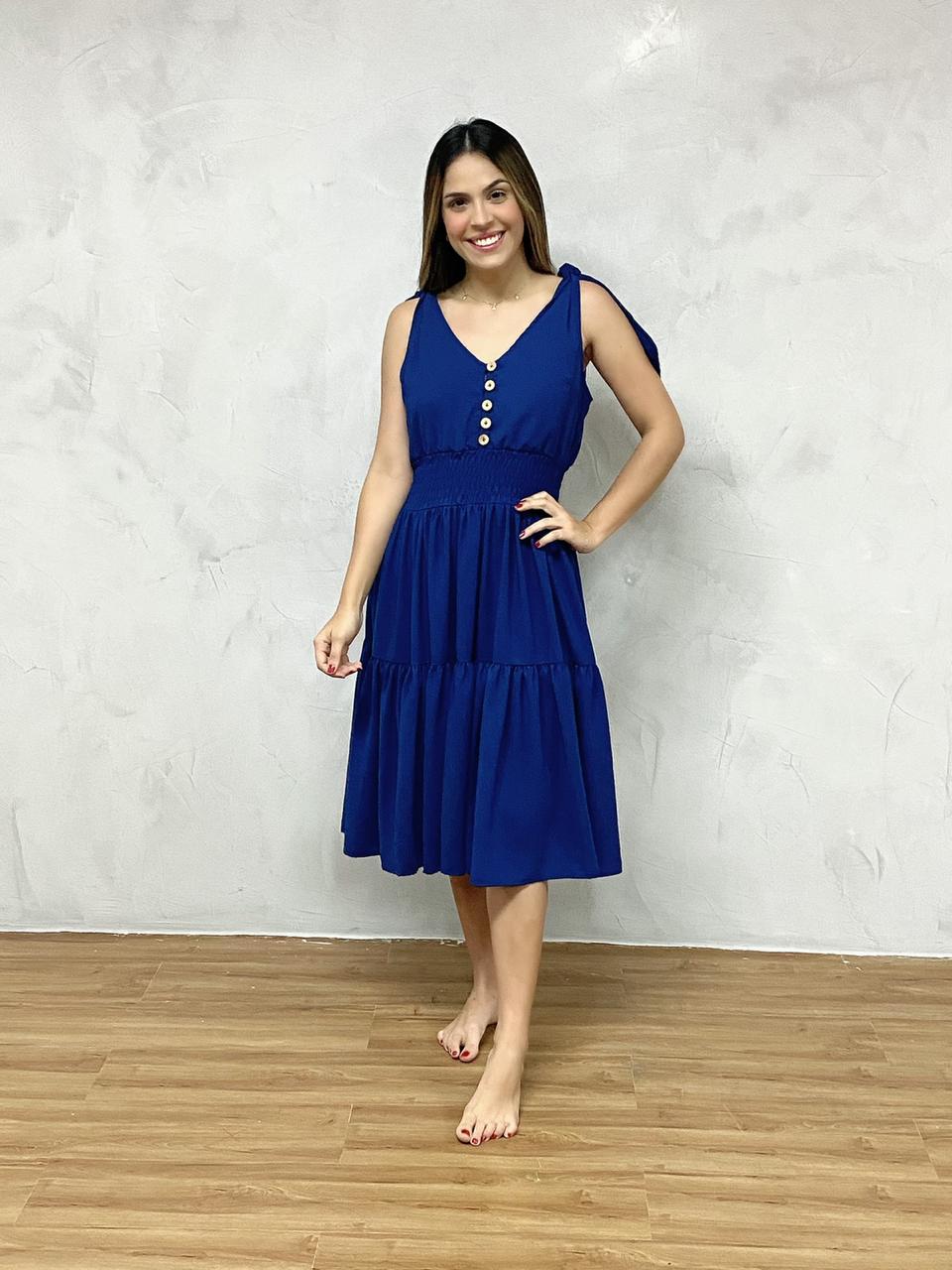 Vestido Mindi Alça Azul