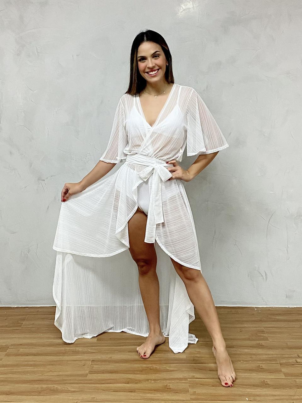 Vestido Mullet Babado Branco