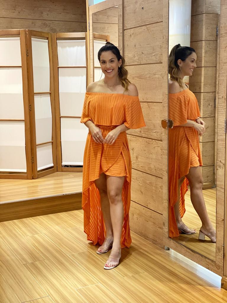 Vestido Mullet Babado Coral   - RMCE BRAZIL