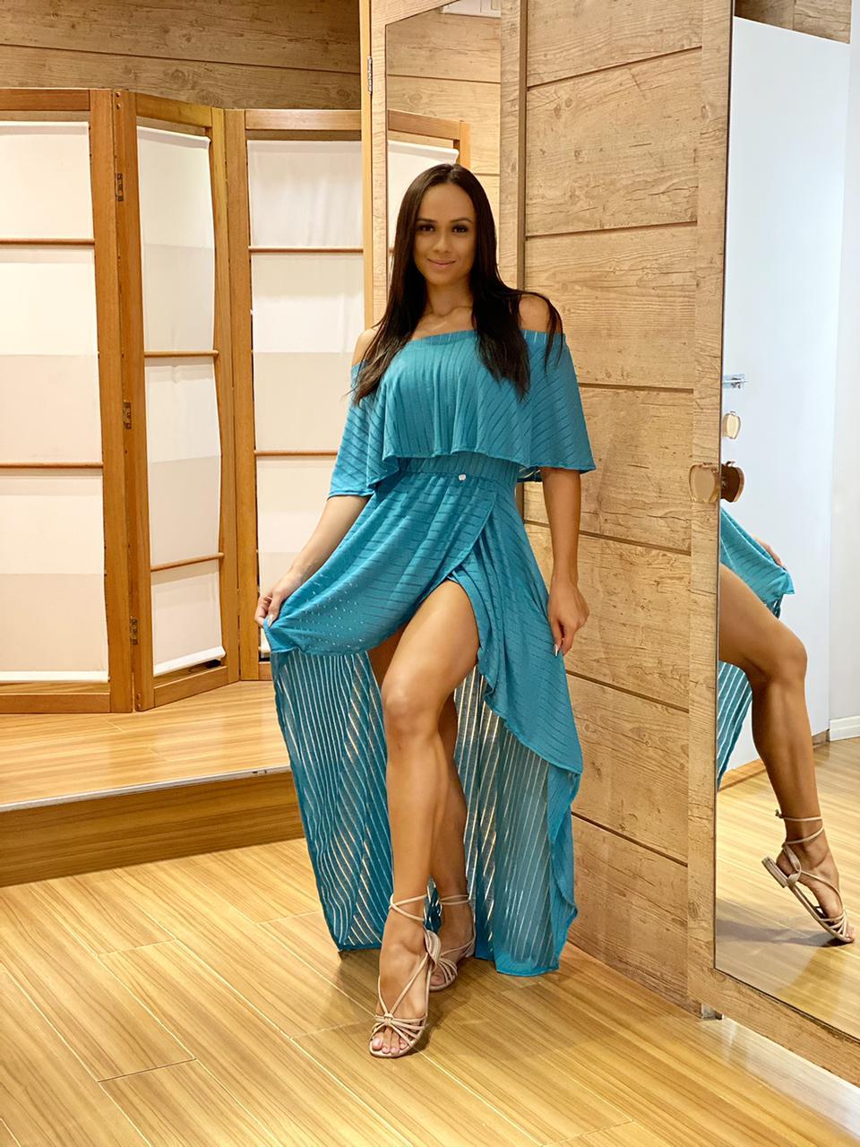 Vestido Mullet Ciganinha Azul Turquesa