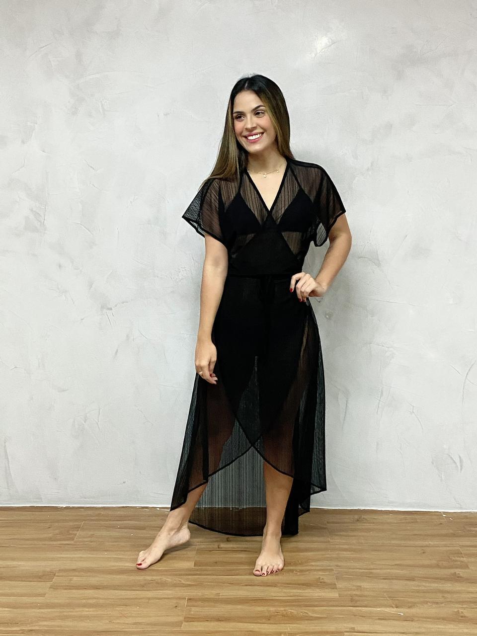 Vestido Mullet Transpassado Preto