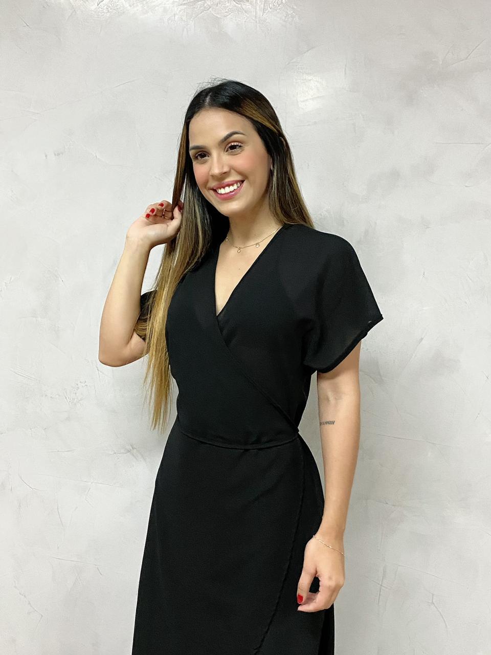 Vestido Mullet Transpassado Preto   - RMCE BRAZIL