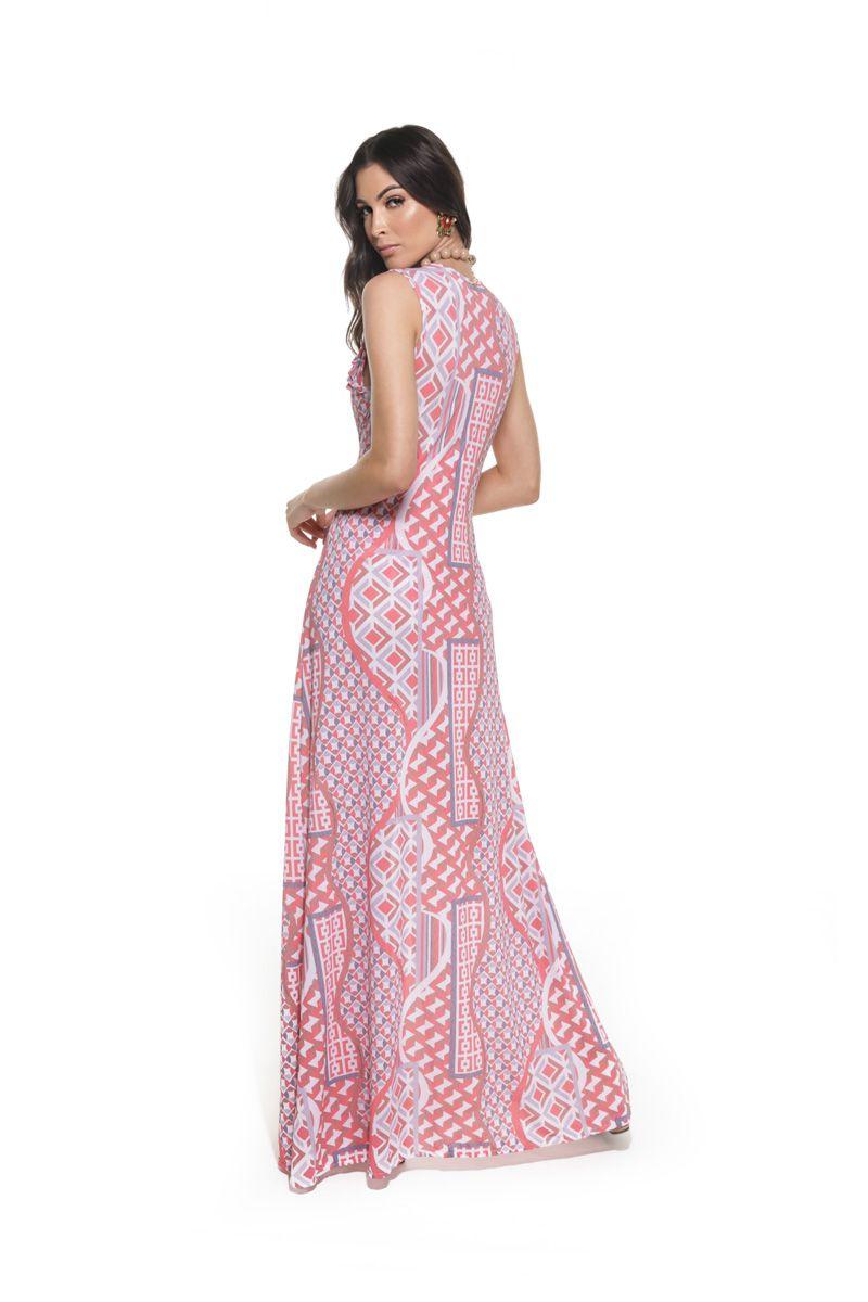 Vestido Regata Longo Fendas Geométric Coral   - RMCE BRAZIL