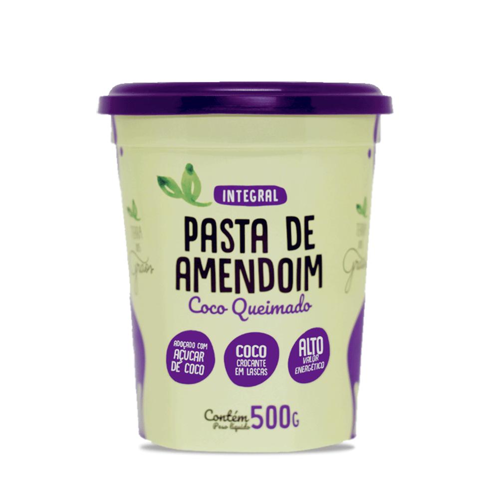 Caixa Pasta de Amendoim Coco Queimado 500gr - 8 unidades