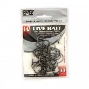 Anzol Live Bait Hook nº 1/0 - 30 unidades