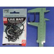 Anzol Live Bait Hook nº 6/0 - 20 unidades