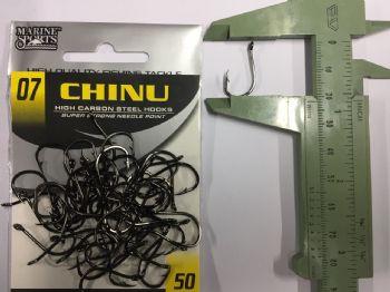 Anzol Chinu Black Nickel nº 7 - 50 unidades  - Artpesca