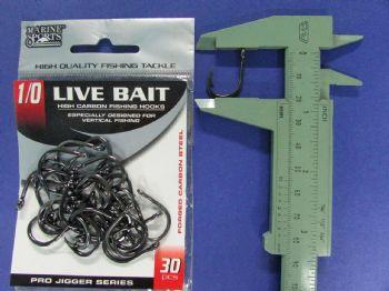 Anzol Live Bait Hook nº 1/0 - 30 unidades  - Artpesca