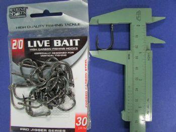Anzol Live Bait Hook nº 2/0 - 30 unidades  - Artpesca