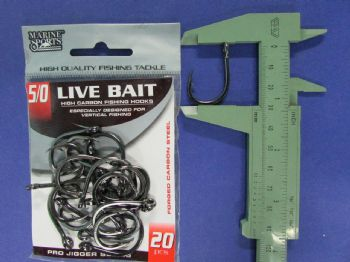 Anzol Live Bait Hook nº 5/0 - 20 unidades  - Artpesca