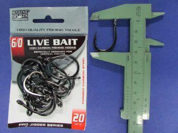 Anzol Live Bait Hook nº 6/0 - 20 unidades  - Artpesca