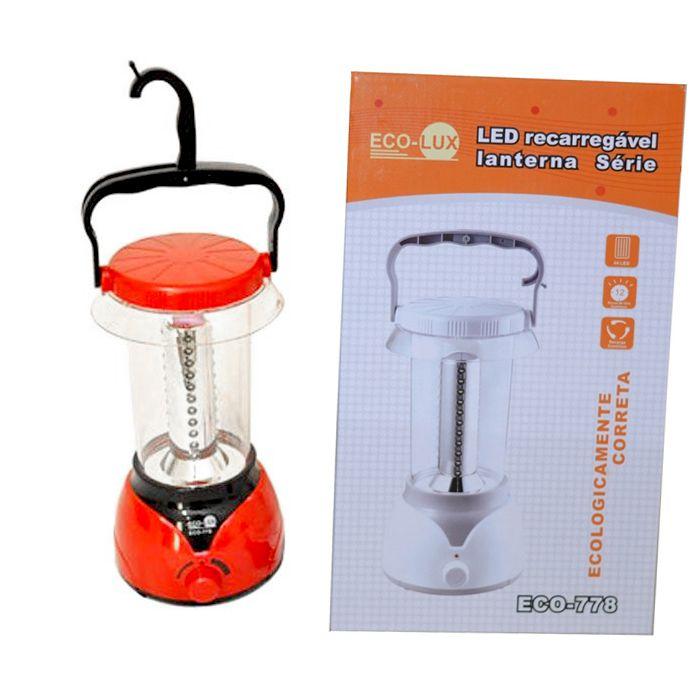 Lampião Eco Lux 778 (44 Leds, Recarregável)