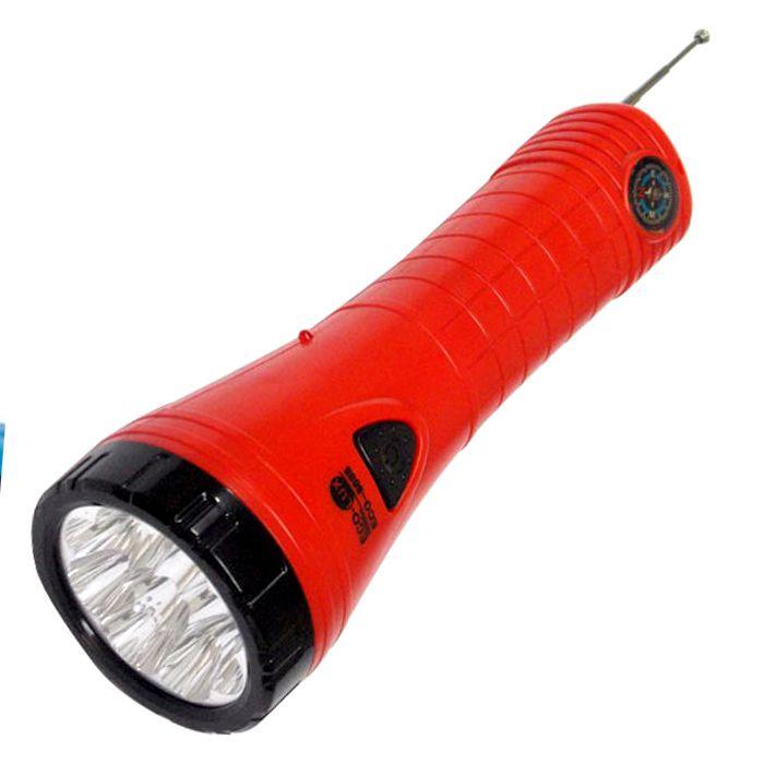 Lanterna Eco Lux 8698 com Rádio (9 Leds, Recarregável)