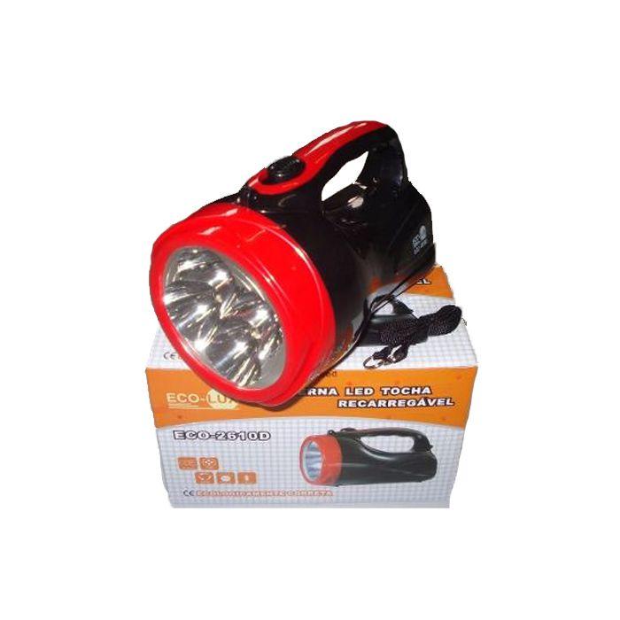 Lanterna Holofote Eco Lux 2610D (4 super Leds, Recarregável)