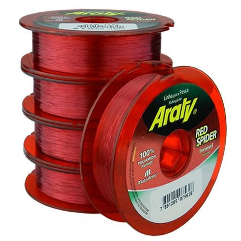 Linha Araty Red Spider 23,8lbs vermelho (0,40mm-300m)