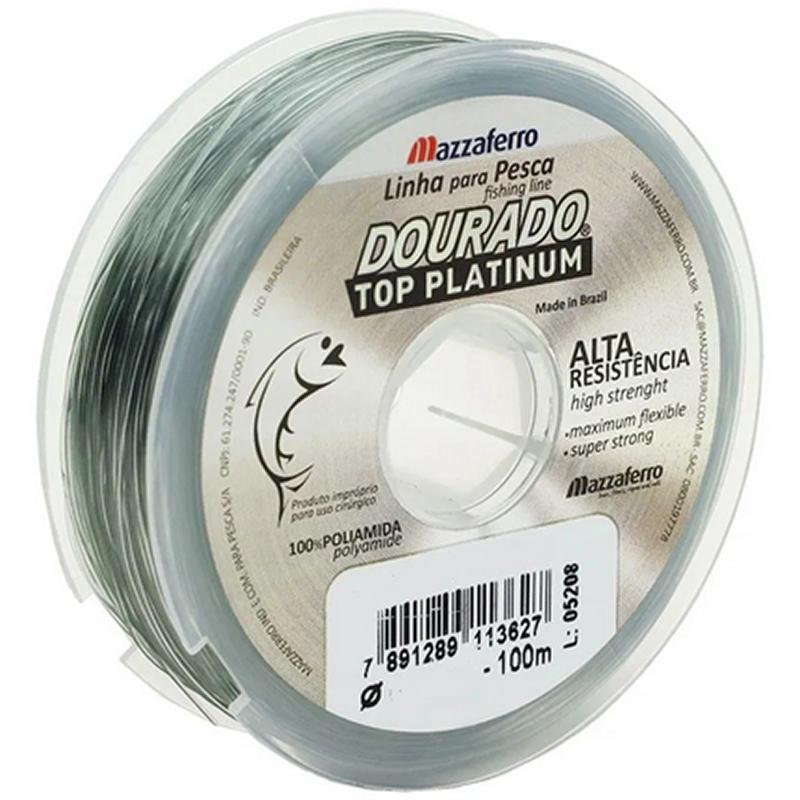 Linha Monofilamento Mazzaferro Dourado Top Platinum 30.9lb (0.45mm-100m)