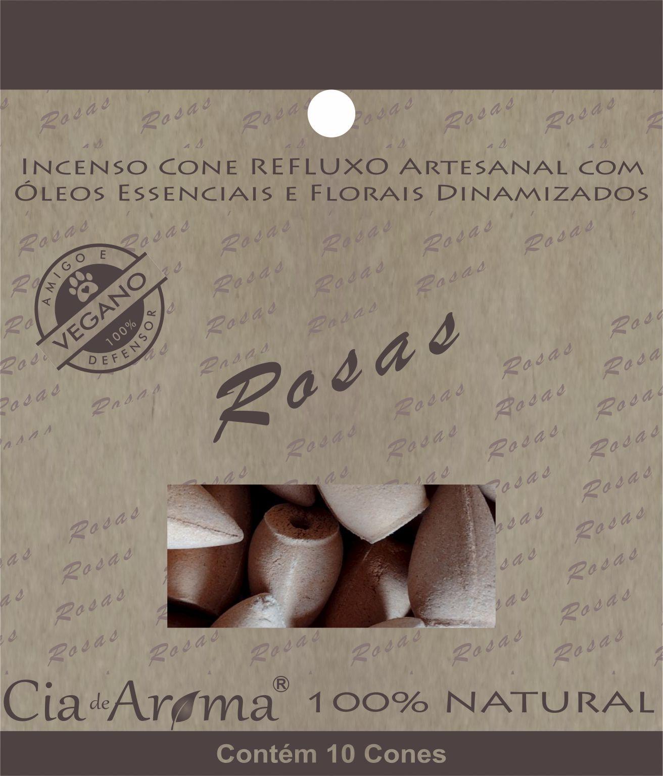 Incenso Cone Rosas | 10 Cone Refluxo