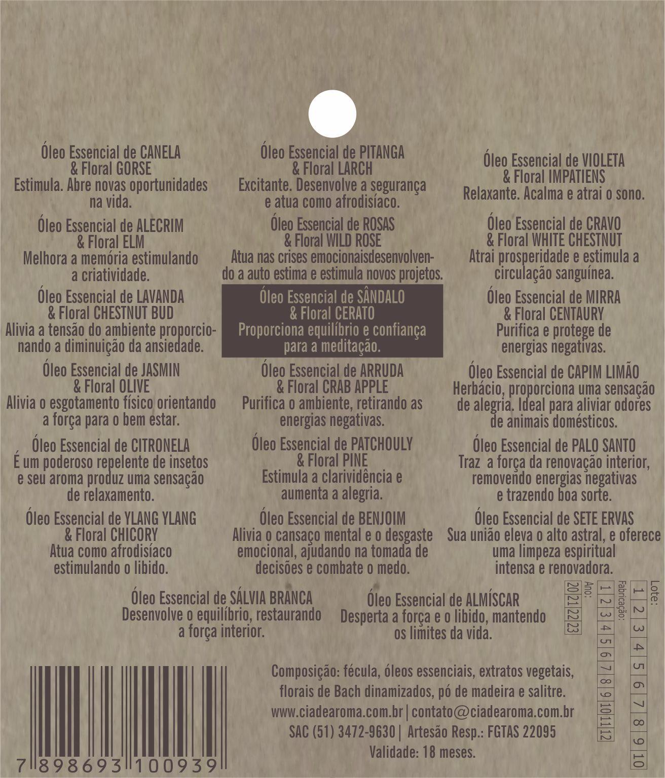 Incenso Cone Sândalo | 10 Cone Refluxo
