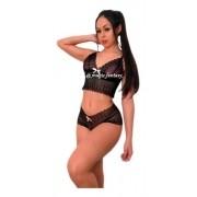 Conjunto Sexy Lingerie Calcinha Cropped Sem Bojo Com Renda