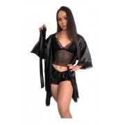 Kit Robe  Baby Doll Cetim Renda Elastano