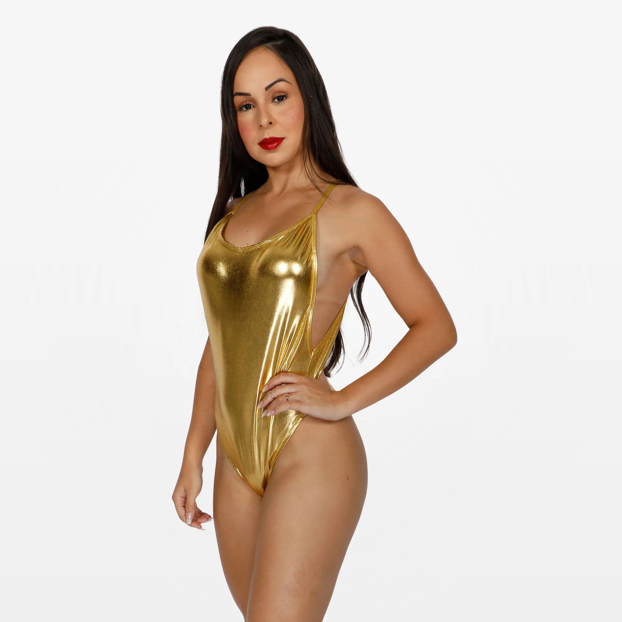 Body Metalizado Feminino Adulto