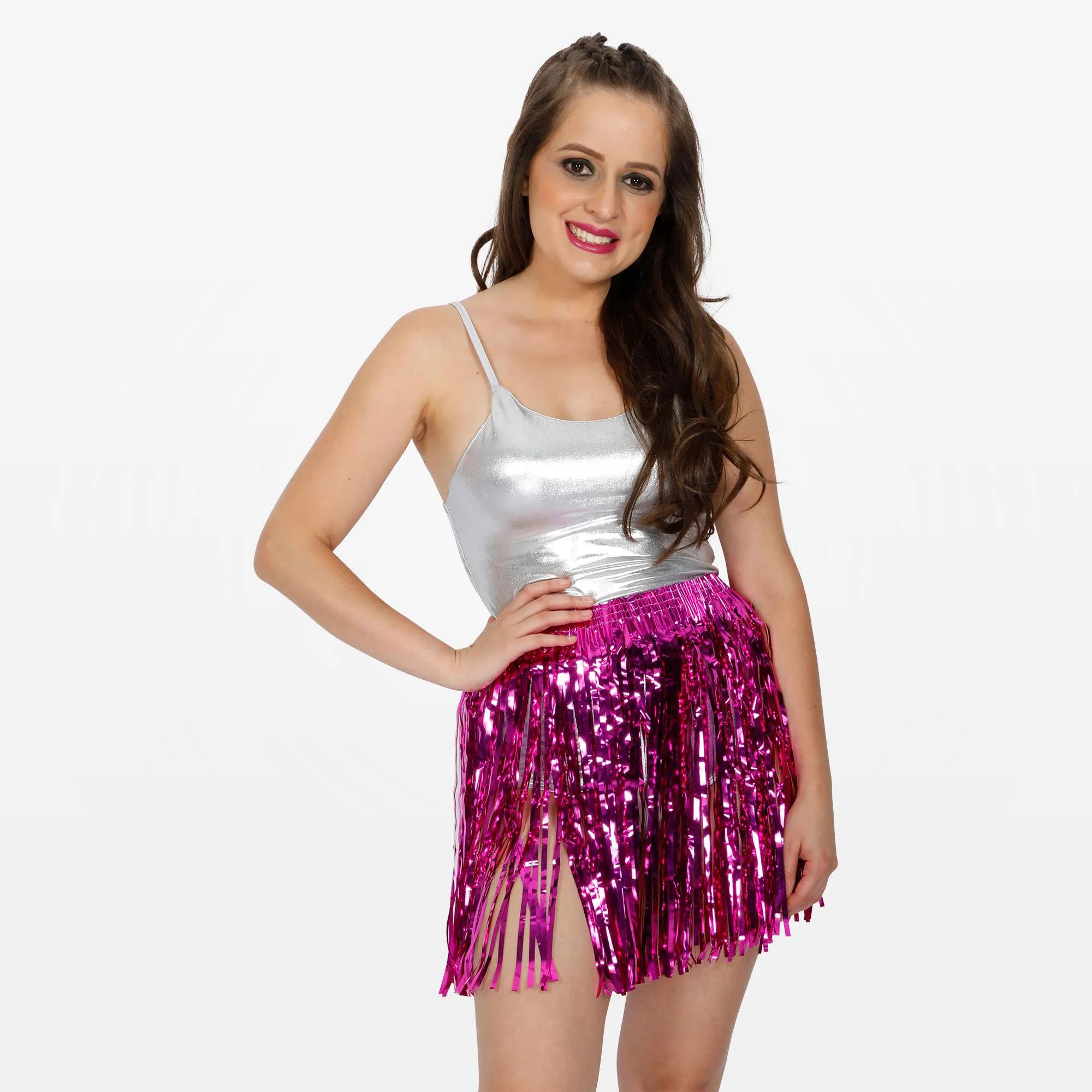 Body Prata e Saia Metalizada Rosa Carnaval Adulto