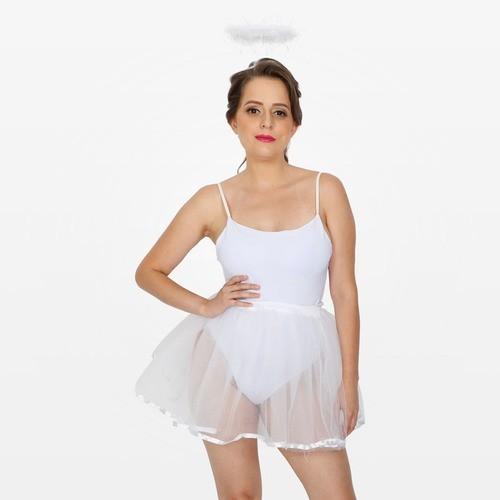 Fantasia Anjinha Branco com Body, Tiara e Saia Adulto