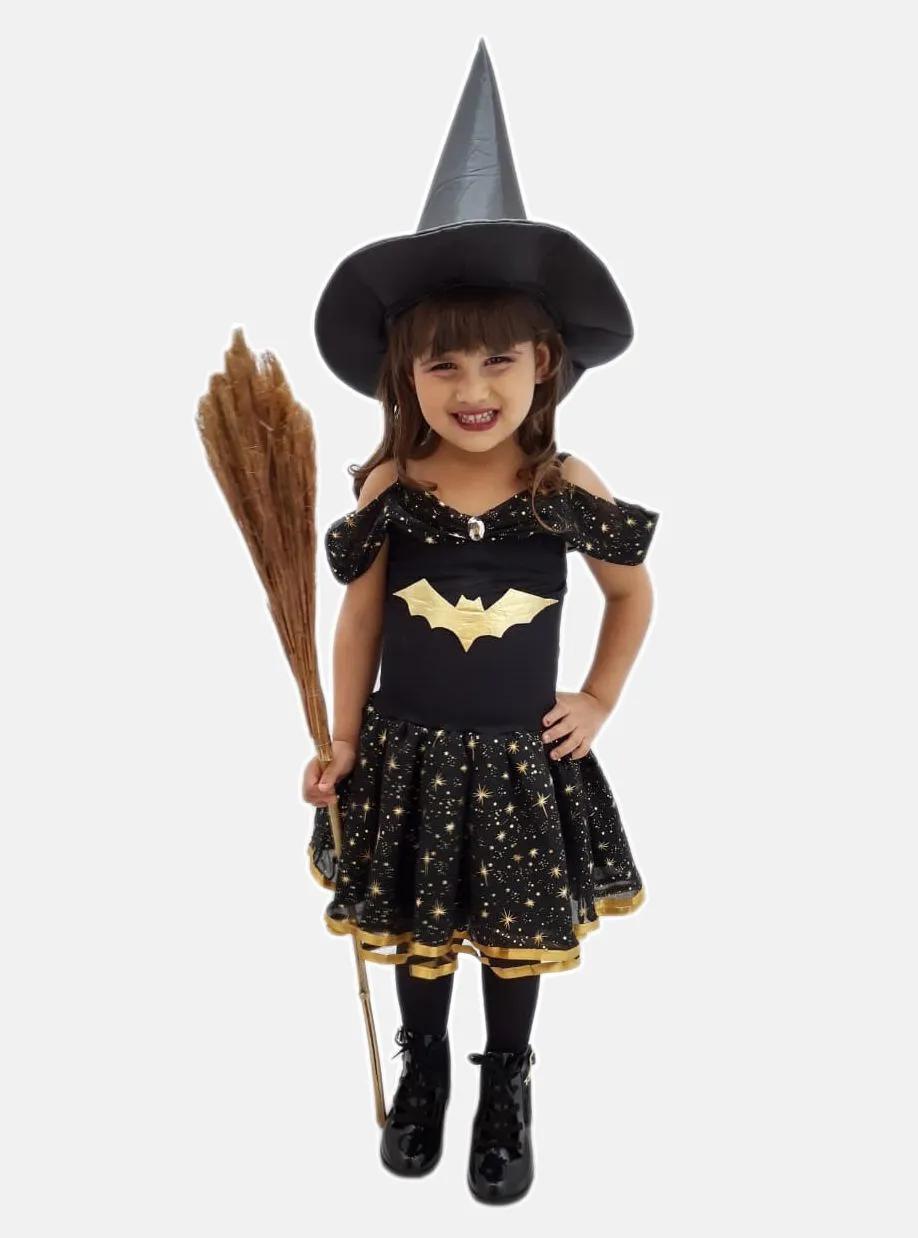 Fantasia Bruxinha Dourada com Chapéu Infantil