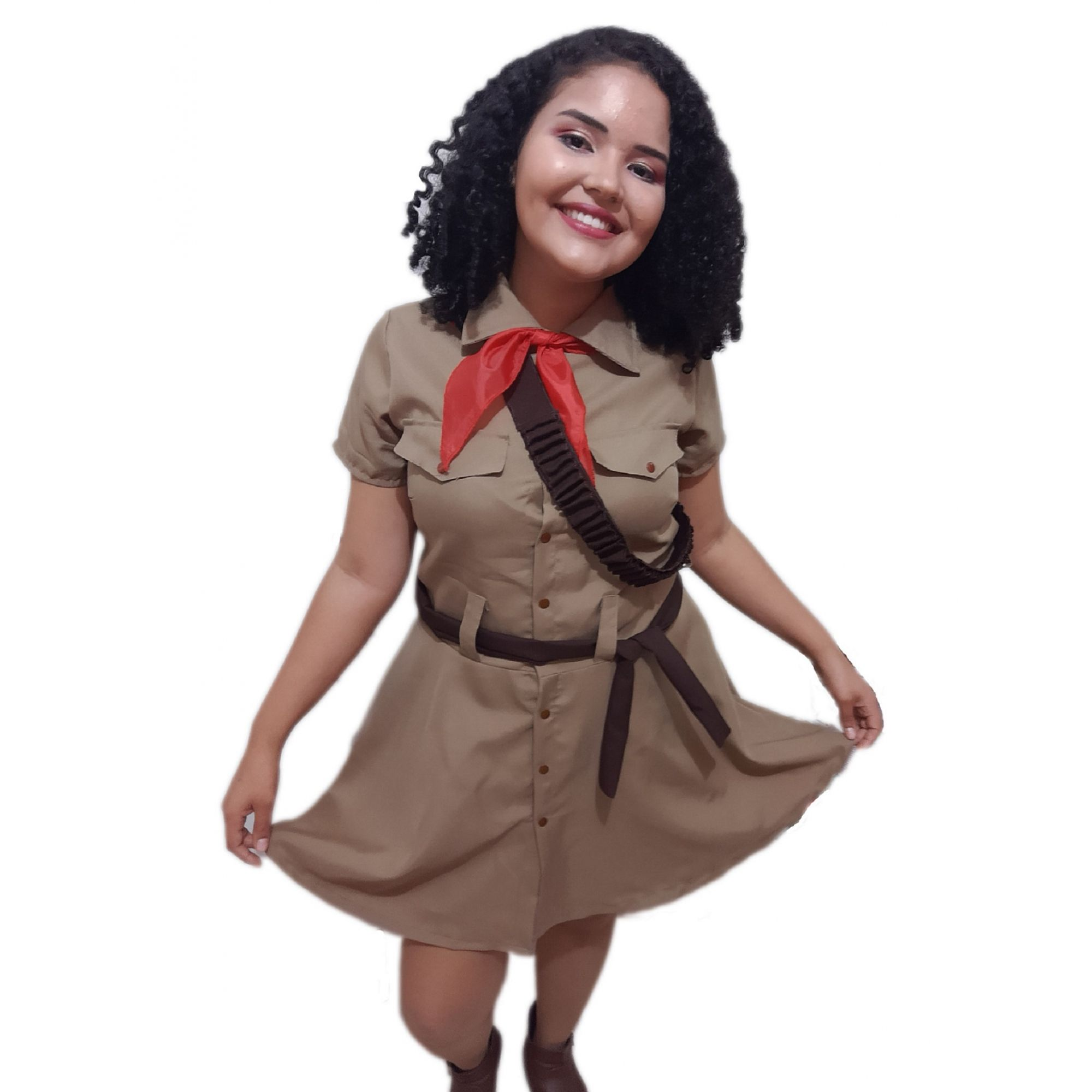 Fantasia Cangaceira Vestido com Chapéu Adulto