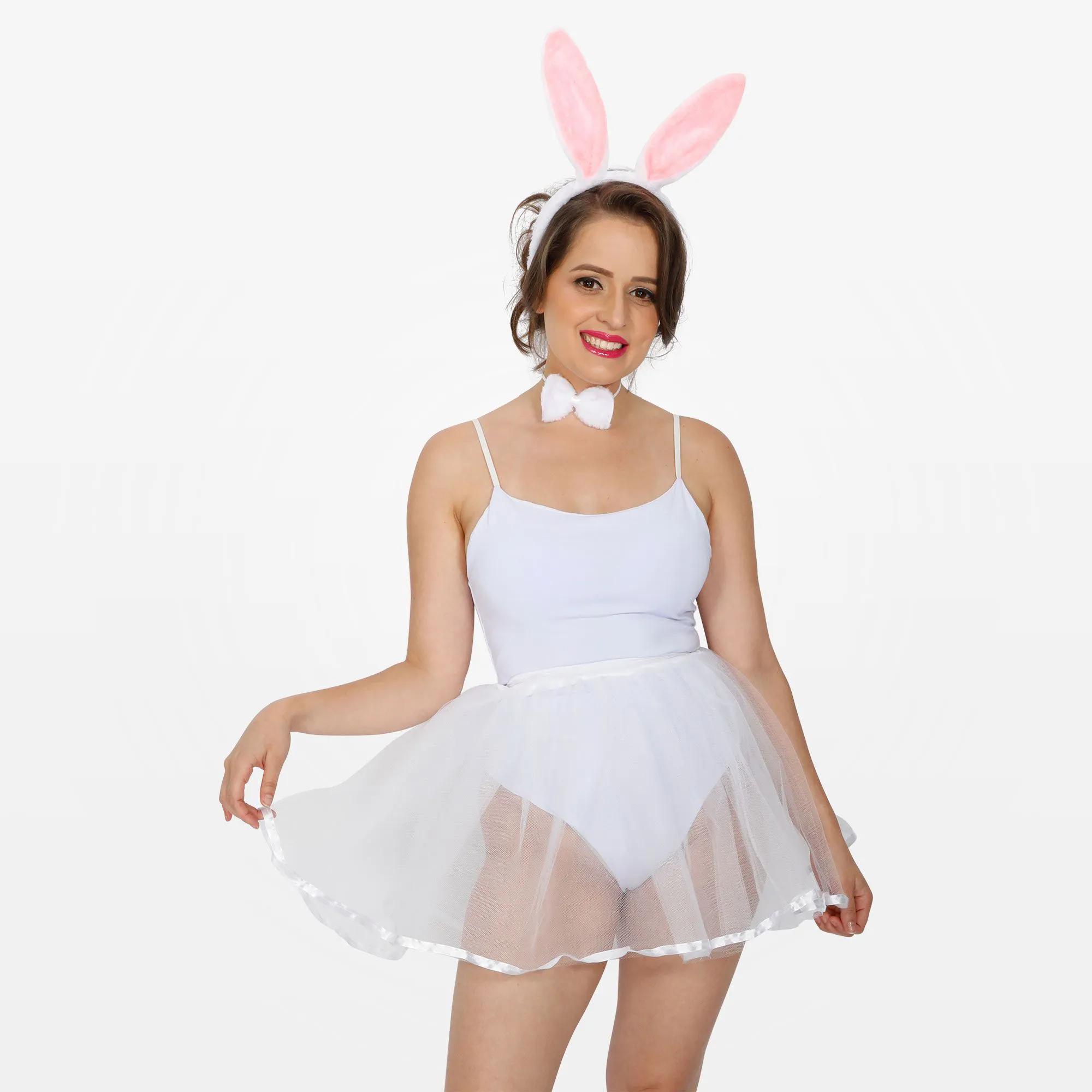 Fantasia Coelhinha com Body Branco, Tiara e Saia Adulto