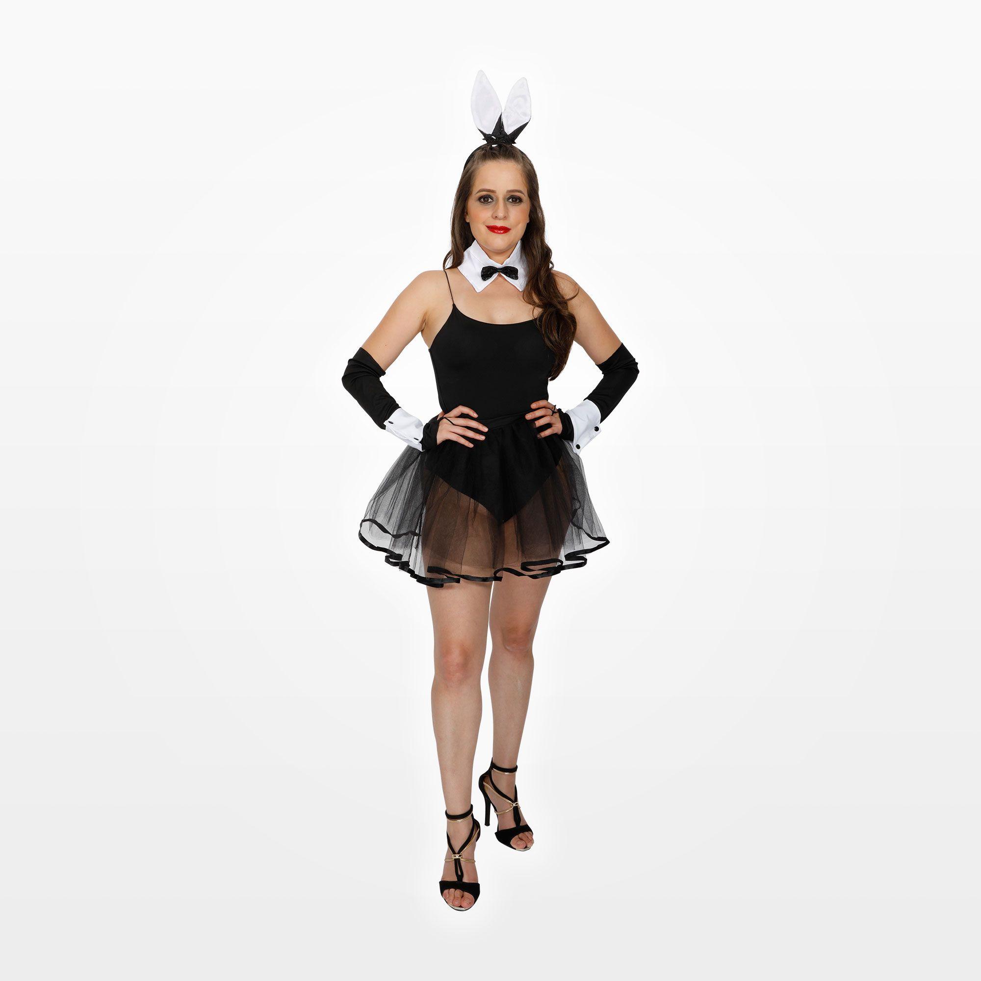 Fantasia Coelhinha com Body Preto, Tiara, Gravata, Saia e Luvas Adulto