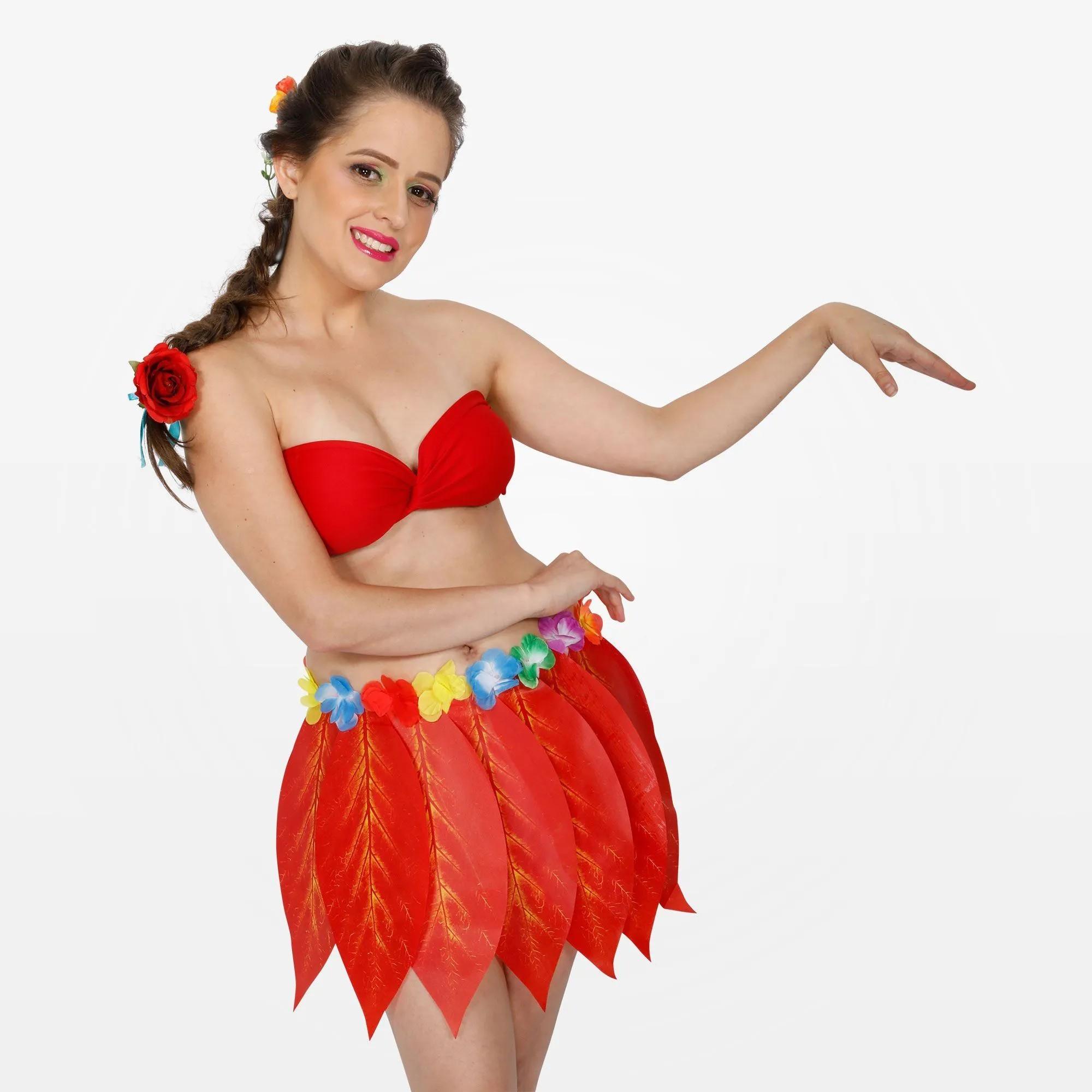 Fantasia Havaiana com Saia de Folhas e Top Adulto