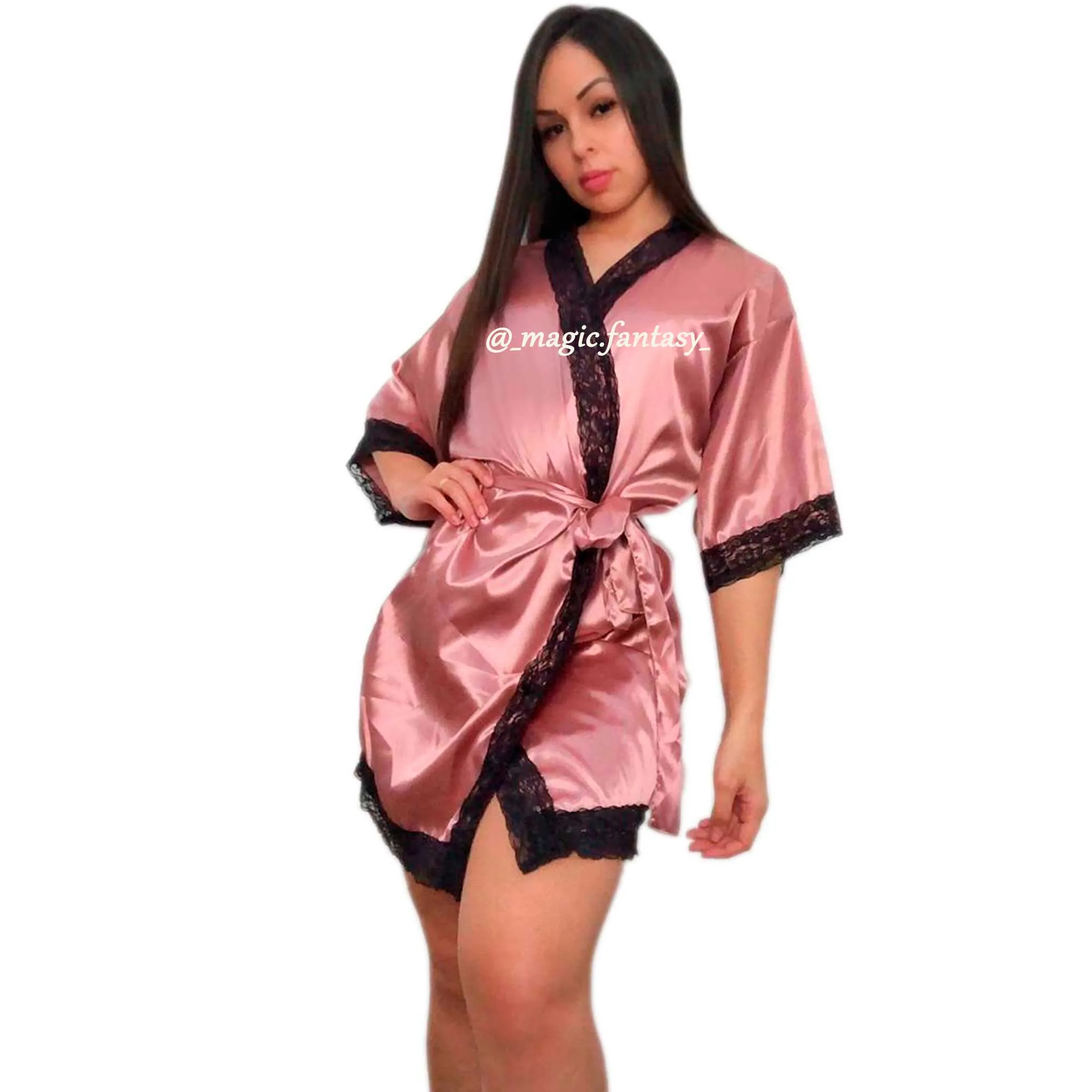 Kit Robe Baby Doll Plus Size Cetim Renda Elastano