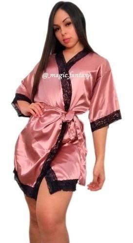 Robe Plus Size Cetim Com Renda Elastano Roby Roupão Tamanho Único