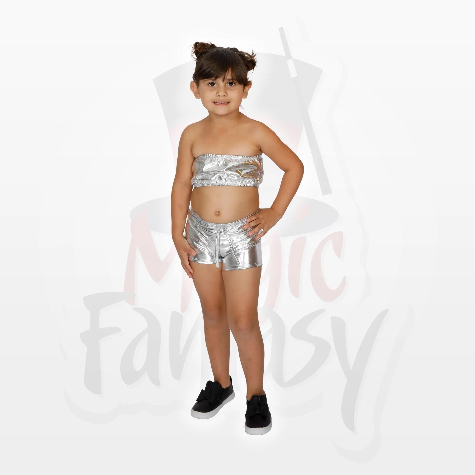 Conjunto Short e Top Metalizados Carnaval Infantil Feminino