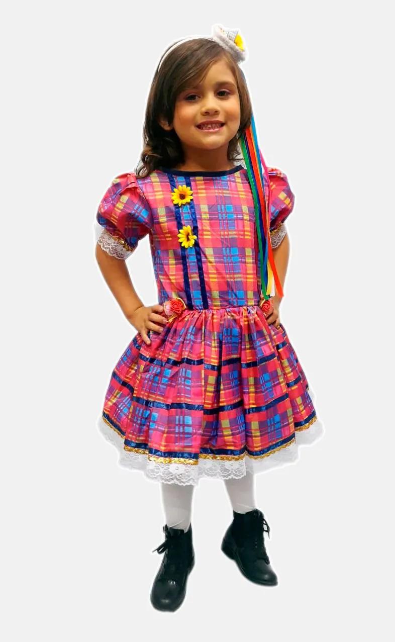 Vestido Junino Rosa Infantil