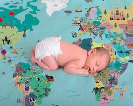 Lençol de Berço Mapa Mundi