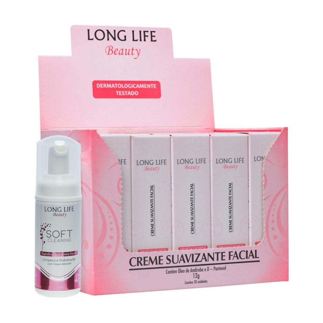 1 Cx Creme Pós Micropigmentação Long life Beauty (20 unids). + 1 Espuma de Limpeza Facial Soft Cleaning 50 ml