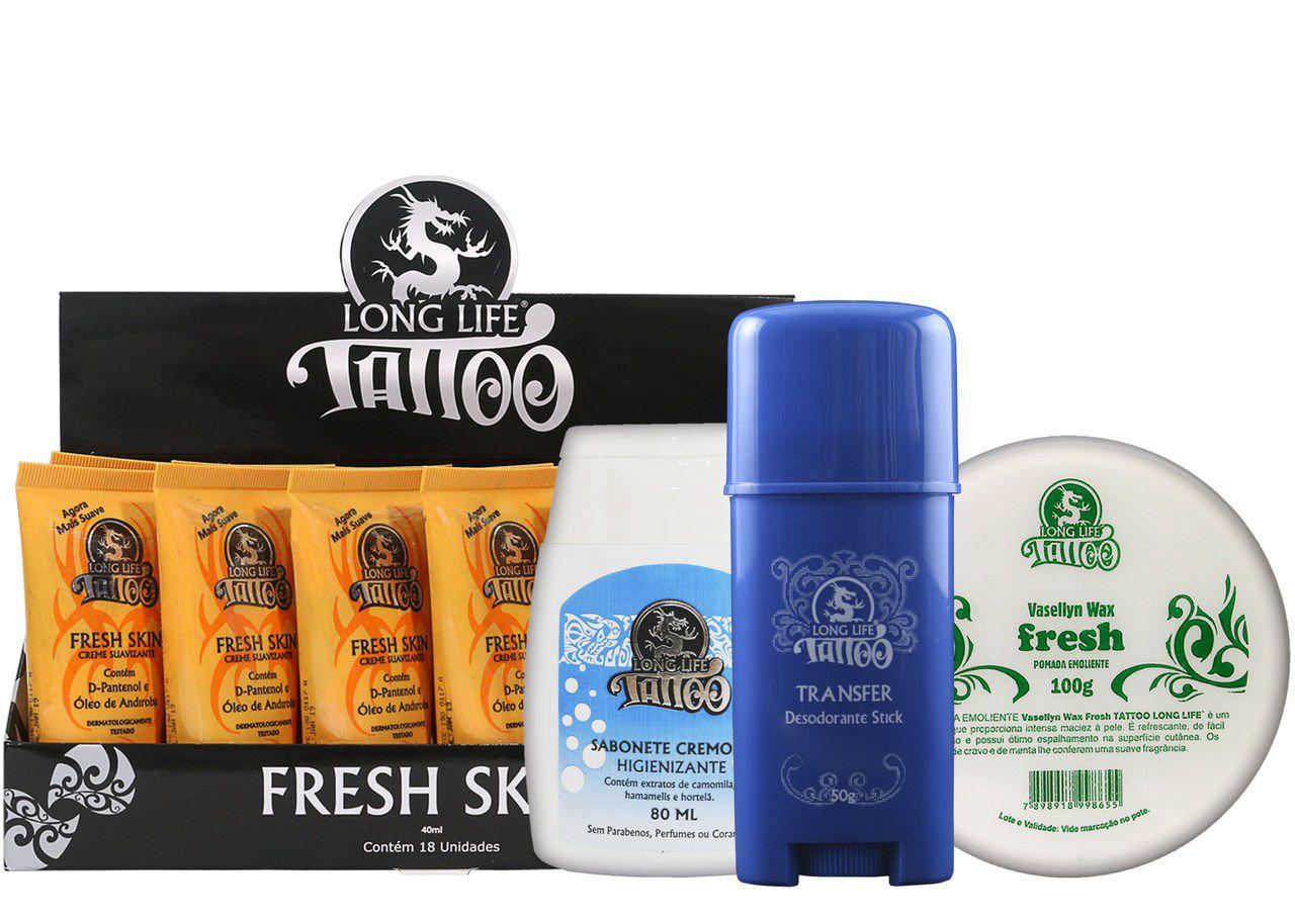 Caixa Fresh Skin (18 un.) + Sabonete Cremoso 80ml + Vasellyn Fresh 100g + Transfer Stick 50g