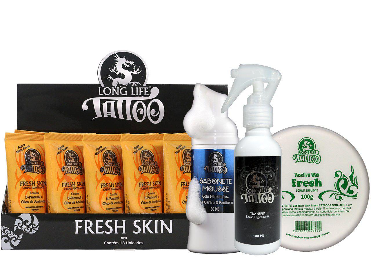Caixa Fresh Skin (18 un.) + Sabonete Mousse 50ml + Vasellyn Fresh 100g + Transfer Loção 100 ml