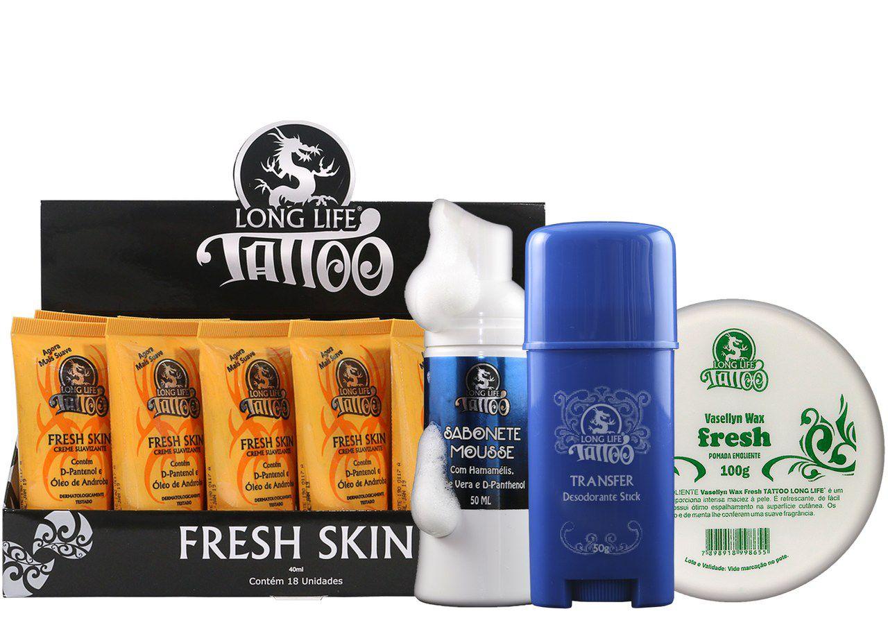 Caixa Fresh Skin (18 un.) + Sabonete Mousse 50ml + Vasellyn Fresh 100g + Transfer Stick 50g