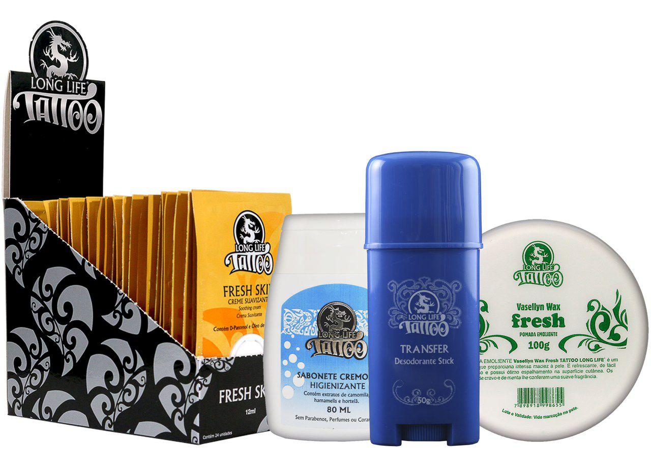 Caixa Fresh Skin Sachê (24 un.) + Sabonete Cremoso + Vasellyn Fresh 100g + Transfer Stick