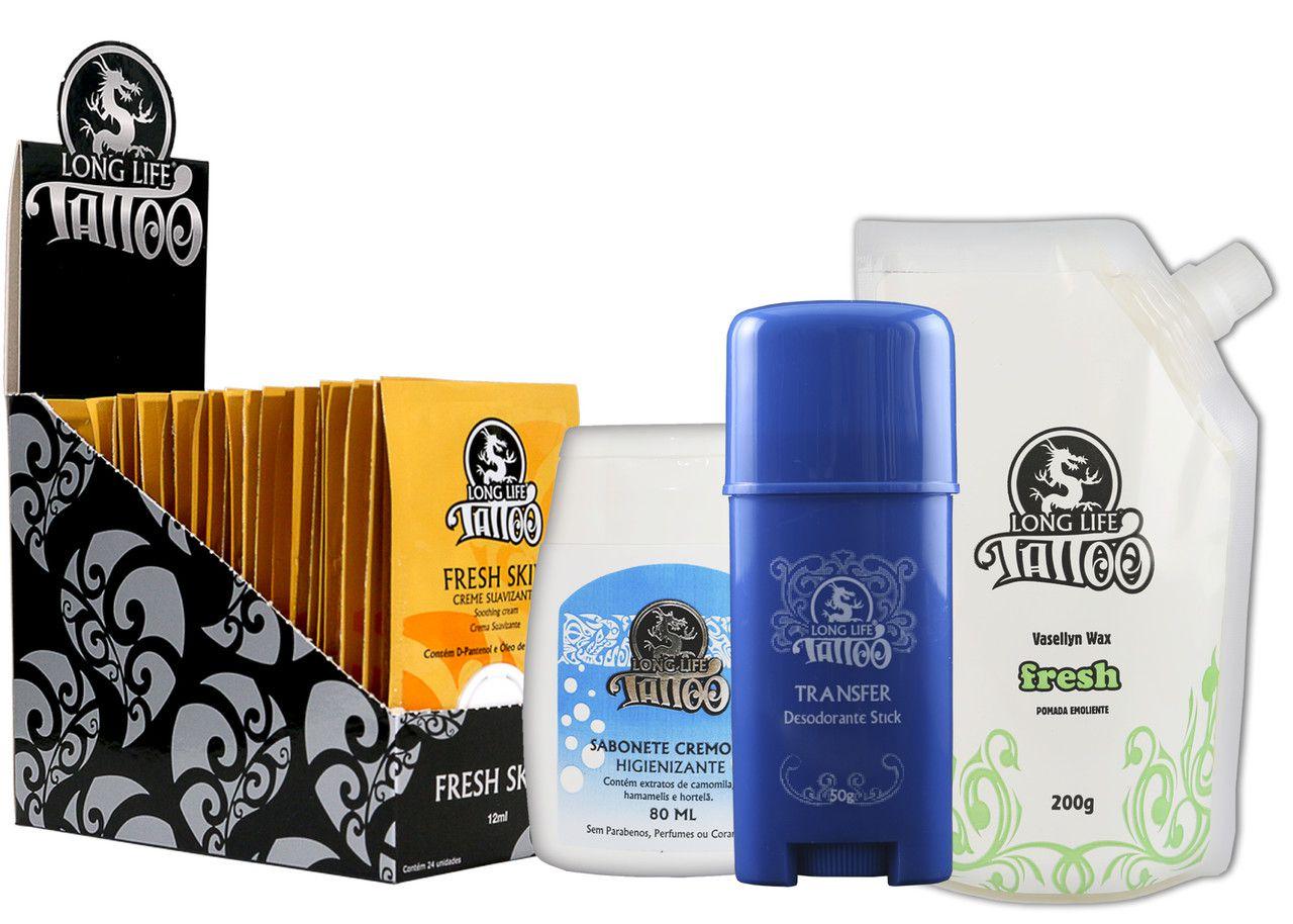 Caixa Fresh Skin Sachê (24 un.) + Sabonete Cremoso + Vasellyn Fresh 200g + Transfer Stick