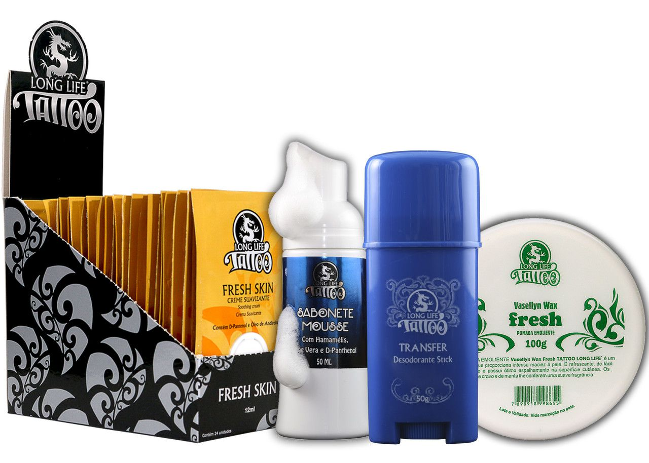 Caixa Fresh Skin Sachê (24 un.) + Sabonete Mousse + Vasellyn Fresh 100g + Transfer Stick