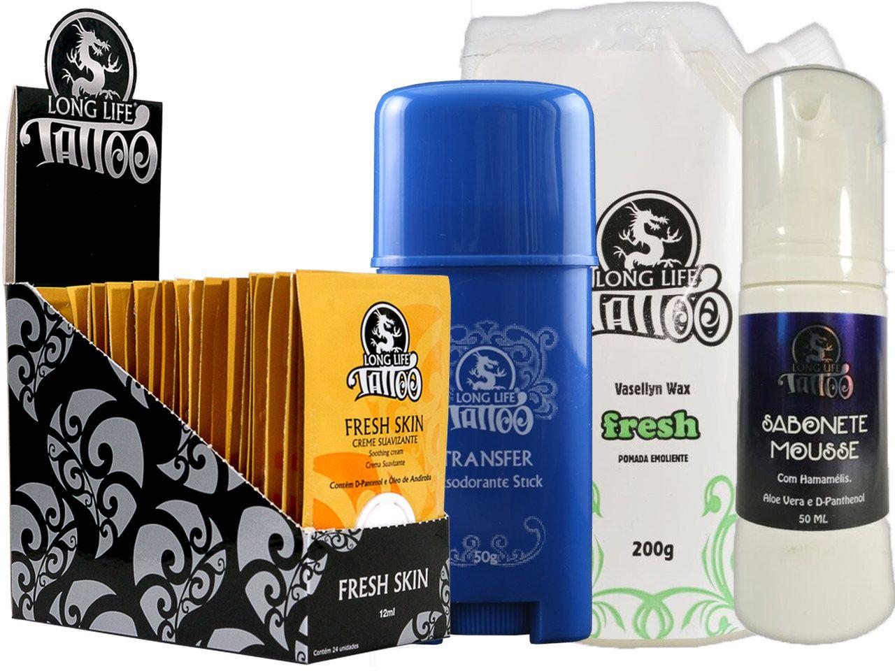 Caixa Fresh Skin Sachê (24 un.) + Sabonete Mousse + Vasellyn Fresh 200g + Transfer Stick