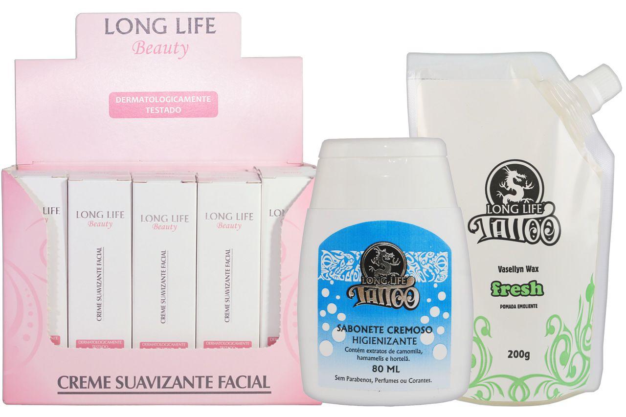 Creme Suavizante Facial Beauty 12g - Caixa com 20 unds + Sabonete Cremoso 80 ml + Vasellyn Wax Fresh 200g