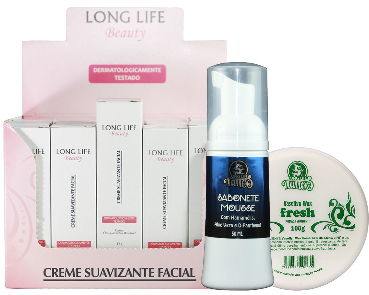 Creme Suavizante Facial Beauty 12g - Caixa com 20 unds + Sabonete Mousse 50 ml + Vasellyn Wax Fresh 100g